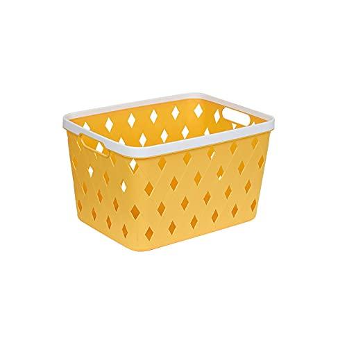 MRBJC Caja de almacenamiento de plástico premium, cierre seguro, apto para ropa, accesorios, papeles, revistas, recuerdos, juguetes, ideal para cualquier lugar de la casa, amarillo, 35,5 x 27 x 21 cm