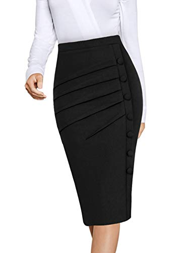 VFSHOW Womens Black Pleated Ruched Buttons High Waist Wear to Work Business Office Pencil Skirt 2668 BLK XS
