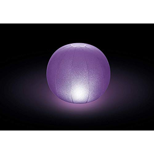 Intex Floating LED Pool Ball 2 PK (12' x 12' )- 4 Color Beach and Water Float Ball with Multi Color Illumination -