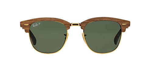 Ray-Ban Clubmaster (M) Gafas de sol, Walnut Rubber Black, 51 para Hombre