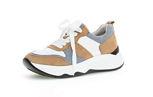 Gabor Damen Sneaker, Frauen Low-Top Sneaker,Best Fitting,Optifit- Wechselfußbett, Halbschuh strassenschuh schnürer,Caramel/w/aquam,39 EU / 6 UK