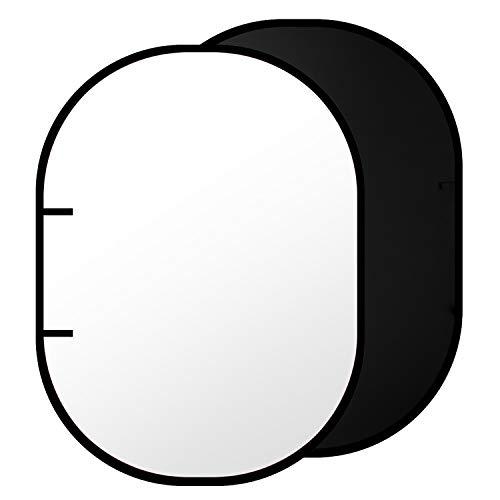 Neewer Schwarz / Weiß Doppelseitiger hervorspringender Musselin Hintergrund -78.7 x 59 inch / 200 x 150 Zentimeter Runder zusammenklappbarer Hintergrund für die Fotografie mit Tragetasche