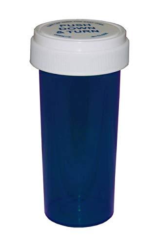 Pharmacy Prescription Vials, Blue Child Resistant Medicine Bottle, 60 Dram Reversible, Caps Included, Pack of 115 (Pill Container, Pharmacy Bottle, Pharmacy Container) by Sponix
