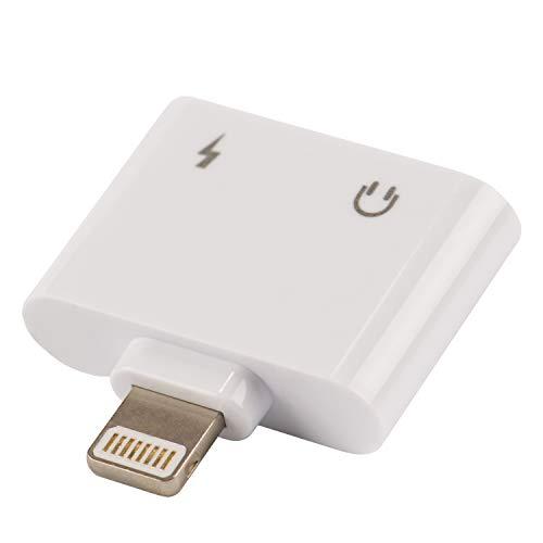 tecnan 3-in-1 AUX Lightning koptelefoon adapter, oplader, opladen & muziek luisteren, volumeregeling compatibel met iPhone XS, XR, X, 8, 8 Plus, 7, 7 Plus, iPad (wit)