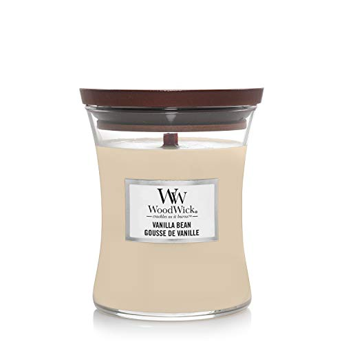 Woodwick Medium Hourglass Scented Candle | Vanilla Bean | with Crackling Wick | Burn Time: Up to 60 Hours, Vanilla Bean