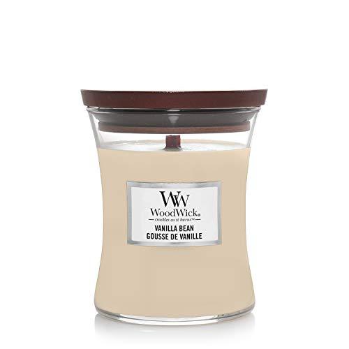 Woodwick Hourglass Candela Profumata Media Con Stoppino Scoppiettante, Bacca Di Vaniglia, Fino A 60 Ore, Beige (Baccello di vaniglia), Medio