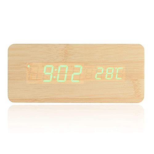 KYCD Me Bedside Clock, Adjustable Alarm Clock Digital LED Wooden Desk Alarm Clock With Thermometer Voice Control,Simple (Color : Green) (Color : Green)