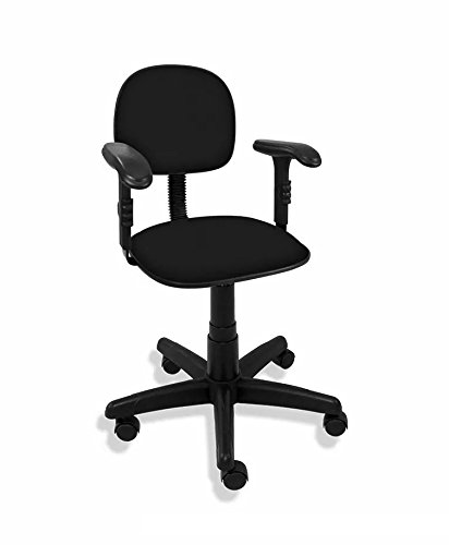 Cadeira Giratória Secretária Polo com Braço Regulável - Tecido Preto