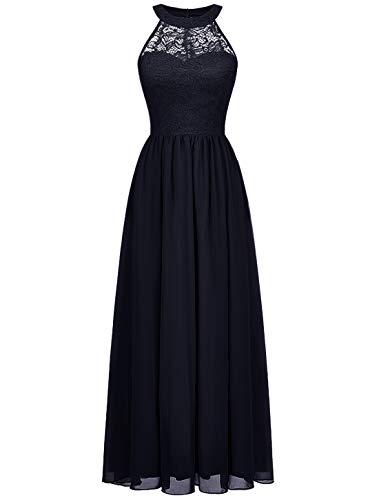 WedTrend Damen Spitzenkleid Brautjungfer Kleid Lang Chiffon Abendkleid Party Cocktailkleid Neckholder Sommerkleid Marineblau WT0201 Navy S