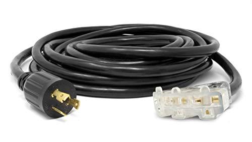 WEN PC2525-3 Cable de extensión de generador 10/3 de Calibre 10 de 30 amperios (Convierte L5-30R a Tres Salidas 5-20R)