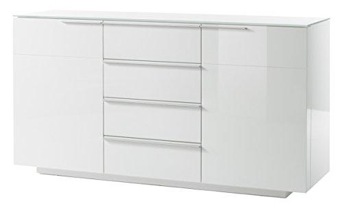 Robas Lund, Sideboard, Kommode, Canberra III, Hochglanz/weiß, 80 x 59 x 20 cm, 48777W54