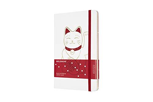 Moleskine Cuaderno Edición Limitada Maneki Neko, Cuaderno Rayado con Gato Japonés, Tapa Dura, Tamaño Grande A5 de 13 x 21 cm, Color Blanco, 240 Páginas