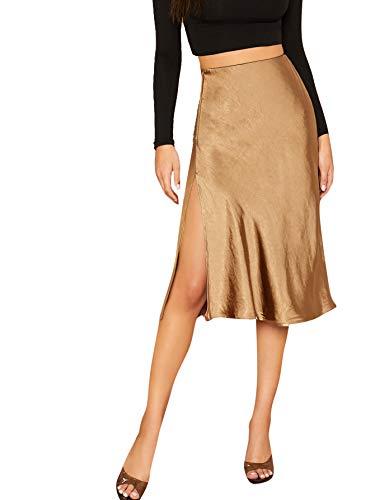 SheIn Women's Party Sexy Satin Split Side Basic Zipper High Waist Midi Skirt Small Goldish Brown