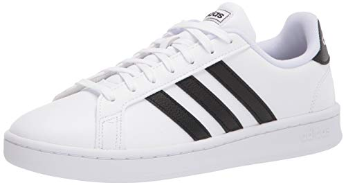 adidas Women's Grand Court Tennis Shoe, white/black/white, 10 M US