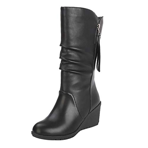 Wide Calf Over The Knee Lace Up Boots for Women Low Heel Warm Comfortable Winter Booties Walking Riding Shoes Outdoors Footwear - Limsea