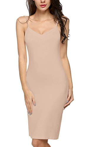 Avidlove Women Full Slips Sexy Chemise Nightgown V Neck Straight Dress Nightwear S-4XL Nude