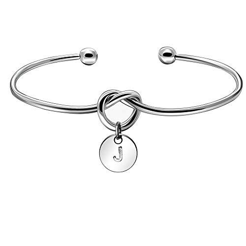 KENYG Initial Alphabet Letter A-Z Pendant Open Cuff Silver Bracelet Bangle Women Charming Bangles (J)