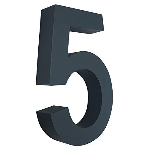 5 Hausnummer 3D anthrazit RAL7016 Edelstahl V2A rostfrei wetterfest Höhe 20cm inkl. Montagematerial erhältlich 0 1 2 3 4 5 6 7 8 9 a b c d