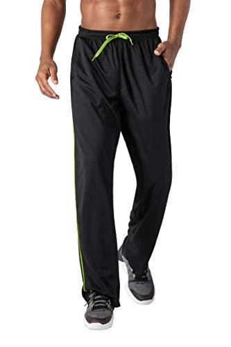KEFITEVD Jogginghose Herren Lang Trainingshose Leicht Polyester Fitnesshose Workout Sweatpants mit Offenem Beinabschluss Outdoor Sporthose Herren Schwarz XXL