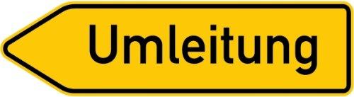 LEMAX® Schild Alu Umleitung linksweisend Verkehrszeichen 454/10 350x1400mm reflektie...