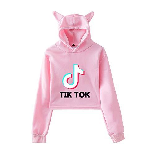 Niñas Y Mujeres TIK Tok Gato Sudadera con Capucha De Manga Larga Ombligo Expuesto con Cordón De Algodón con Capucha Niñas Y Mujeres,Pink-XS