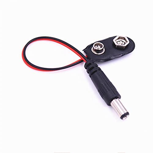 YFJCL Clip de batería Conector de batería de Clip a presión de 9V PP3 5.5 x 2.1mm Cable eléctrico de Enchufe de Gato DC for Arduino CCTV Fácil de conectar (Color : I Shape, Package : 5PCS)