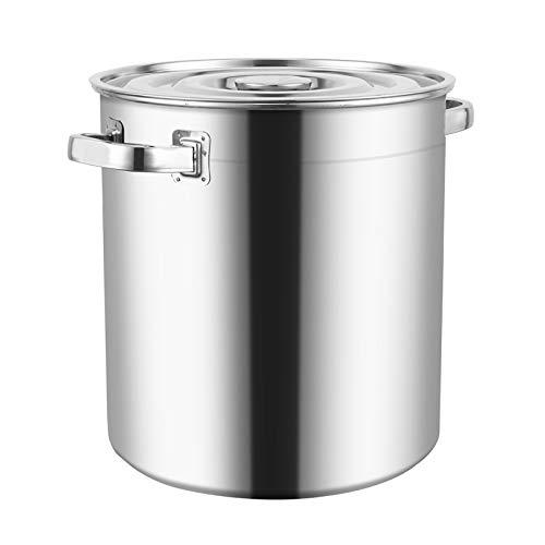 Induzione-Safe in acciaio inox della pentola con coperchio, POT Stock Cooking casseruola Boiling Pot profonda catering Pentola, 31 centimetri (Size : 46.5 * 46CM)