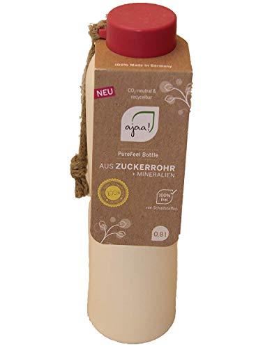ajaa! Trinkflasche 0,8l pink - Trinkflasche aus nachwachsenden Rohstoffen ohne Melamin, ohne Weichmacher wie BPA, Made in Germany