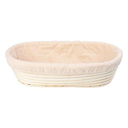 OUNONA Cuenco para Levar Masas Banneton Cesta de Prueba de Pan con Forro de Tela 12 Pulgadas Oval