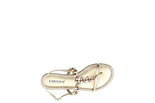 Cafè Noir GA922 Platino Oro Sandali Gioiello Donna Infradito Pietre Cinturino Glitter 36