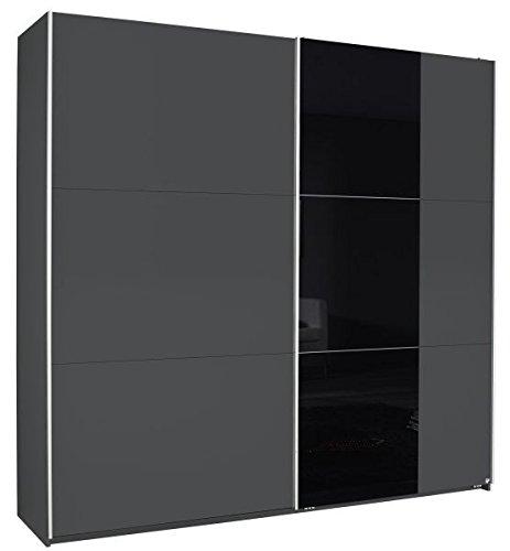 Schwebetürenschrank Nala grau metallic schwarz 2 Türen B 218 Jugendzimmer Schlafzimmer Kleiderschrank Schrank Schiebetürenschrank