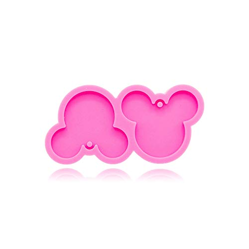 Cute Flat Shiny Mouse Head Keychain Silicone Mold with Hole for DIY...