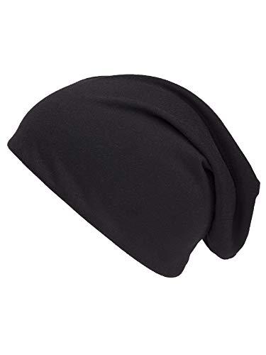 Shenky - Bonnet d'été/de Printemps en Jersey - Fin, Long, Tombant - Homme, Femme, Enfant - Noir - Taille Unique