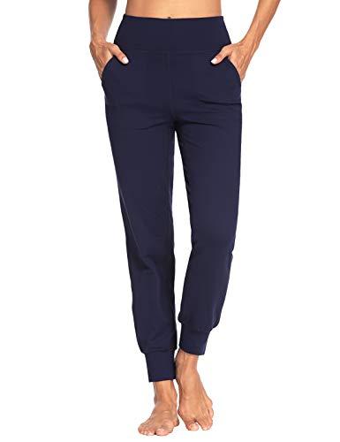MOVE BEYOND Donna Pantaloni Jogger con 4 Tasche, a Vita Alta Pantaloni Sportivi Allenamento con Polsino, Blu, M