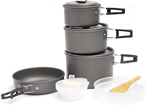 LIUL Kit de utensilios de cocina para camping, juego de sartenes antiadherentes y ollas, ligero al aire libre para acampar, sartenes al aire libre, vajilla para cocinar fogatas