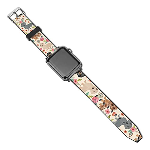 La última correa de reloj de estilo compatible con Apple Watch Band 38 mm 40 mm Correa de repuesto para iWatch Series 5/4/3/2/1, Dachshund Floral Vintage Flowers Design Cute Doxie Dog