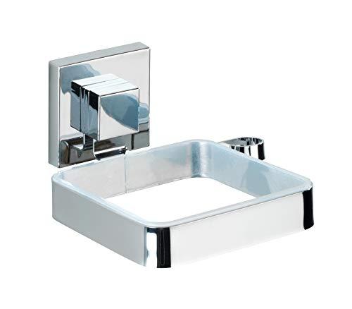 WENKO Vacuum-Loc Haartrocknerhalter Quadro, Föhn-Halterung für das Badezimmer, mit Kabelhalter, Vakuum-Befestigung an der Wand - ohne Bohren, aus rostfreiem, glänzendem Edelstahl, 14 x 7.5 x 13.5 cm