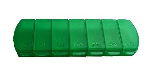 MAXBOX Pillendose für 7 Tage, Tablettendose, Pillenbox mit getrennten Fächern, handliche Medikamentenbox (grün)