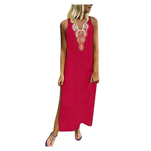 XUEBing Vestido sin mangas elegante para mujer, vestido de playa con cuello en V profundo y abertura lateral, cintura alta, vestido dividido