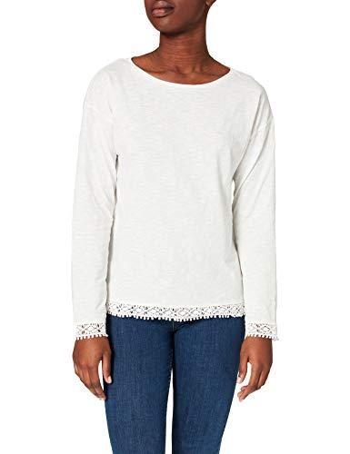 Springfield Camiseta Estampada Detalle Puntilla, Marfil, M para Mujer