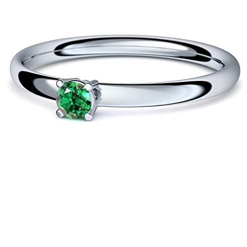 Smaragd Ring Silber 925 (***sehr hochwertiger Smaragd 3 mm***) + GRATIS Luxusetui Silberring grüner Stein Silberring Smaragd Smaragdringe Ringe Damen Schmuck AM161 SS925SMFA52