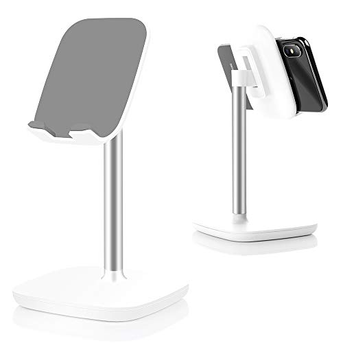 Cell Phone Stand,Adjustable Cell Phone Stand Holder and Desktop Stand Compatible for All Android All iPhone Samsung Phone Tablet Smartphone Stand Convenient Charging (White)