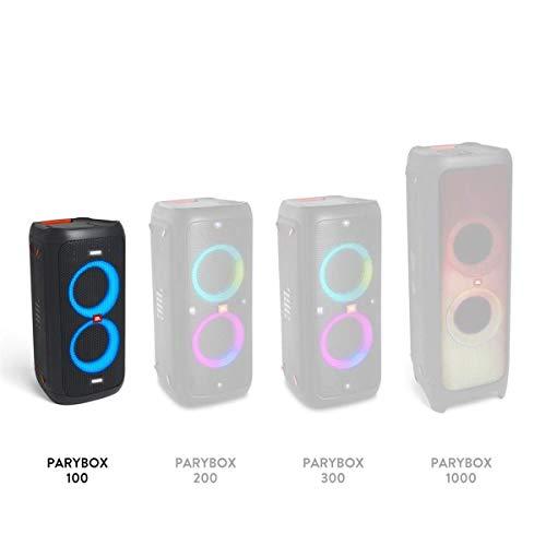 JBL PartyBox 100 in Schwarz – Tragbarer Bluetooth Party-Lautsprecher mit Lichteffekten – Spritzwassergeschützte, mobile Musikbox mit Netzteil - 5