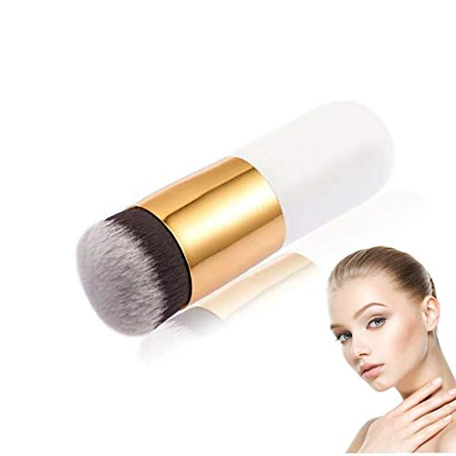 Professional Brosse grand plat rond poudre de fondation brosse de soies de brosse Kabuki, coller ou outils de maquillage cosmétique liquide mélangeur (blanc)