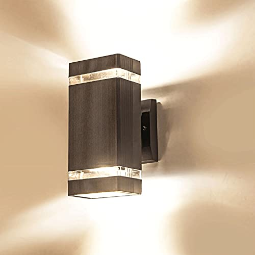 Aplique de pared para exteriores, IP54 a prueba de agua a prueba de polvo, apliques de pared de cuerpo de lámpara de aluminio fundido a presión negro, luz de pared irradiada hacia arriba y hacia abajo