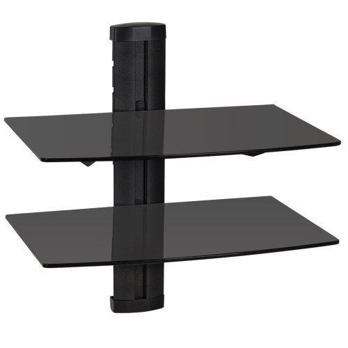 tectake Wandregal Glasregal TV Wandhalterung für Blu-ray DVD Player Receiver Hifi Geräte - diverse Modelle - (2 Ablagen Schwarz (401102))