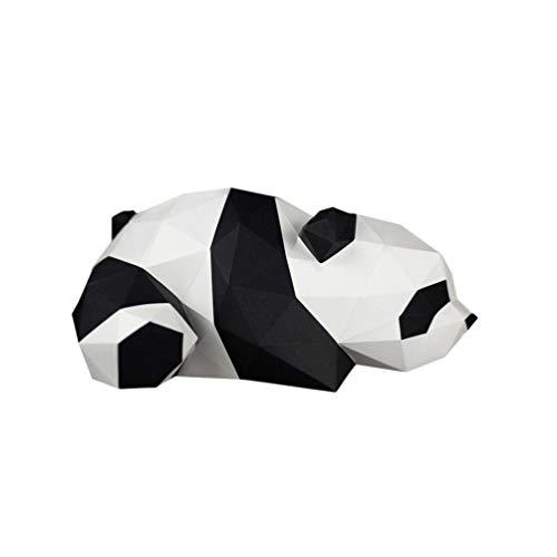 NUOBESTY 3D Mentira Panda Modelo de Papel Estereoscópico Geométrico Origami Diy Molde Hecho a Mano Papel Artesanía Decoración de Escritorio Adornos para El Hogar Juguetes para Niños
