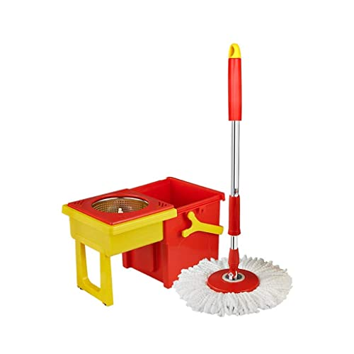 IVQAPP Spinning and Bucket Cleaning Set with Drawer Retractable Storage Hangable Red Head *2 Red a