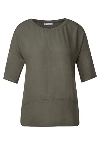 Street One Damen 315263 Softe Shirtbluse im Materialmix T-Shirt, Shady Olive, 40