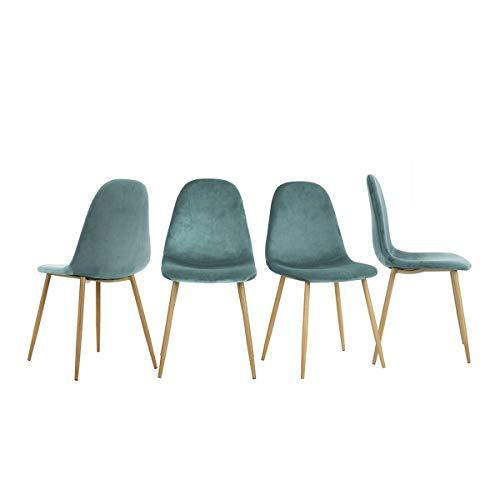 Yata Home – Juego de 4 sillas de 44 x 44 x 87 cm, color antracita, estilo escandinavo, terciopelo, patas de metal, aspecto de madera, para comedor, salón, oficina, dormitorio